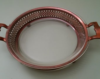 """Solid Copper Pie Carrier and Vintage 9"""" Pyrex Pie Dish"""
