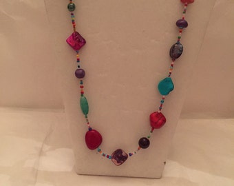 Long Multi Colored Beaded Necklace