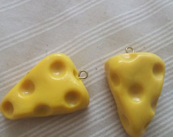 Yellow Sculpey Swiss Cheese Charms