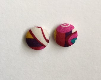 15mm Fabric Studs • Musk Swirl • Surgical Steel • fabric stud earrings • button studs • button earrings