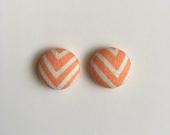 15mm Fabric Studs • Peachy Chevron • Surgical Steel • Button Studs • Button earrings • fabric stud earrings