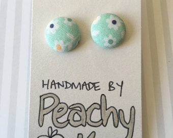 15mm Mint Green Floral Fabric Earrings