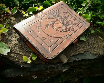 leather kindle case, art nouveau, beautiful handmade kindle case