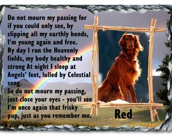 Beautiful Personalised Pet dog Memorial Photo Slate Plaques LARGE 19cm x 29cm