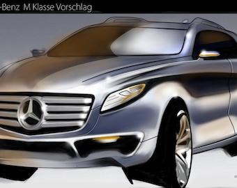 Car arts, car drawing Mercedes