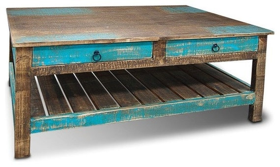 Aqua Coffee Table With Drawers 2