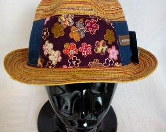 15% Discount Seasons Sale.FUNKY BLOSSOM & INDIGO hat band.Tencel.Cotton Japanese Print.Blossoms.Wide band Style.Tie back.Metal Dragonfly.