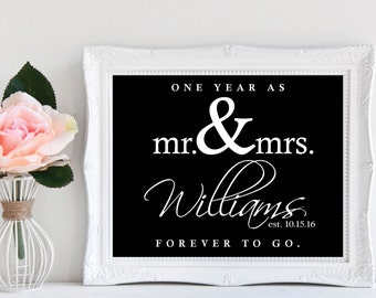 Anniversary Gift | One Year Anniversary | Printable 1 Year Sign | Custom Anniversary Gift | One Year as Mr and Mrs. Forever to Go