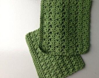 Crocheted cotton dishcloths -set of 2 - sage green