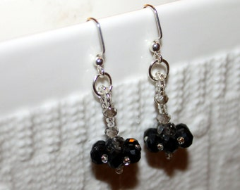Cute black & white beaded handmade earrings; beadweaving