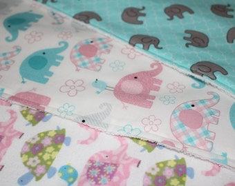 Elephant themed burp cloths, set of 3