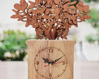 wooden / table clock / home decor / jardiniere design