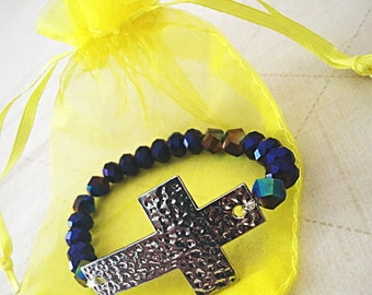 Cross purple bracelet