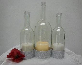 Wine bottle hurricane lamp etsy for Clear wine bottle centerpieces