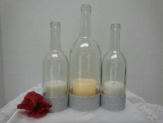 Wedding centerpiece triple clear wine bottle hurricane holder for Clear wine bottle centerpieces