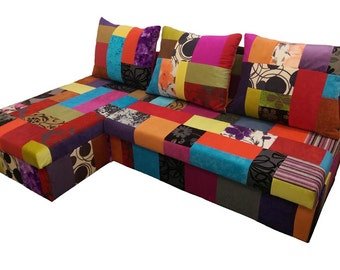 Stunning Corner Sofa Bed ,,Claudia'' in Patchwork