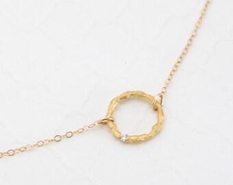 Karma Bracelet, Gold Circle Bracelet, Eternity Bracelet, Friendship Bracelet, Dainty Gold Bracelet, Sterling Silver or Gold Filled, Delicate