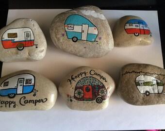 Glamping - Vintage Camper Painted Rock