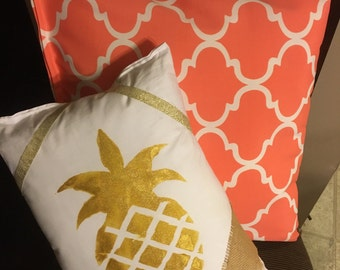 Bright, vibrant, coral outdoor pillow