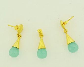 Calcidone in vermeil Earrings and Pendants