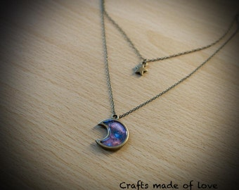 Star and moon/nebula double necklace