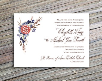 Rustic Watercolor Flowers Wedding Invitation Printable