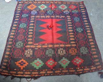 4'3 x 4'1 Beautiful Afghan Handmade Vintage Sofrah Kilim Dastarkhwan Kilim