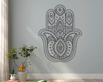 Hamsa Hand Wall Decal- Yoga Wall Decal- Namaste Decal Stickers Indian Bohemian Bedroom Yoga Studio Meditation Decor Hamsa Wall Art  #13