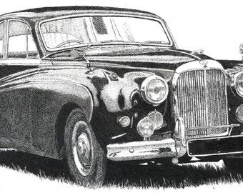 Pen & Ink Drawing, A4 - Jaguar Mk 9 Saloon