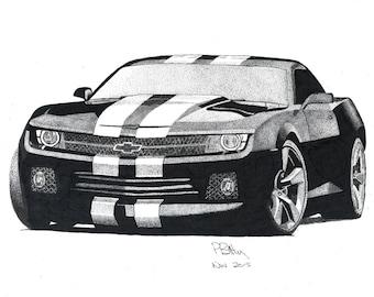 Camaro Drawing Etsy