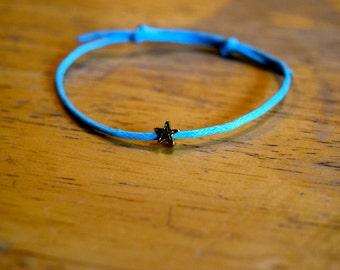 Gold Star Charm Bracelet, Waxed Cotton Cord, Wish Bracelet, Friendship, Adjustable, Love