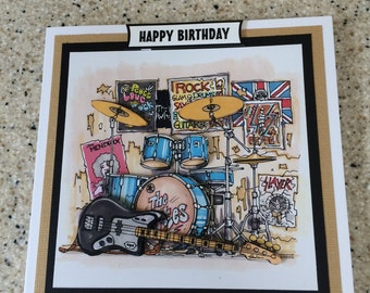 """Handmade Happy Birthday 3D decoupage electric guitar rock band drums music card 6"""" square musician"""