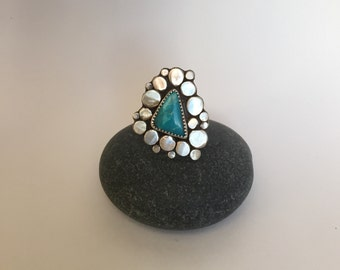 Triangle Turquoise Statement Ring- Size 8