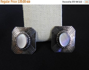 labor day sale stunning vintage navajo native american sterling silver and mother of pearl pierced earrings