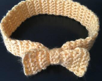 Yellow Crochet Bow Headband