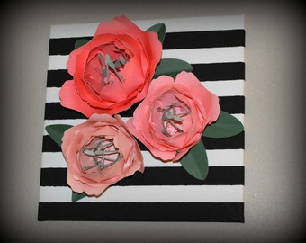 3D Pink and Coral Peony Paper Flowers on Black and White Striped Canvas, Home Decor