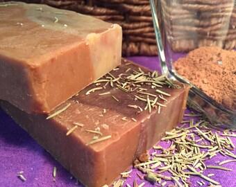 Rosemary Lemongrass Cocoa Moroccan Clay Goat Milk Soap