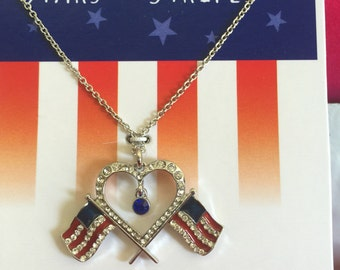 American flag heart pendant necklace!!!