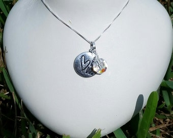 I Love my Dog Heart Charm and Swarovski Crystal Sterling Silver Necklace