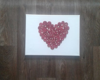 Red heart button canvas picture shabby chic handmade