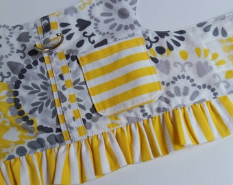 Summer doggie dress/harness, size small, yellow and gray.