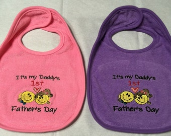 Father's Day - Girl's Baby Bib - Available in Pink or Purple
