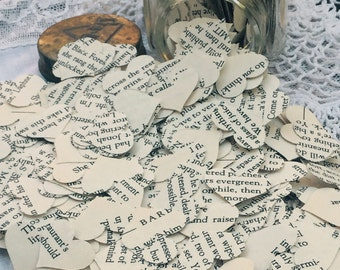 Hearts Paper Wedding Confetti 1,800 Hearts Table Decor Party Decor Vintage Books Punched Hearts Party Confetti Paper Hearts Centerpiece Love