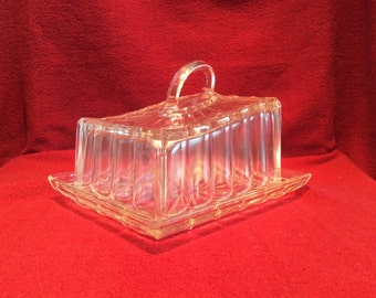 Large Clear Glass Vintage Cheese or Butter Lidded Dish