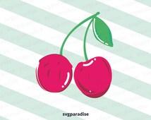 Cherry Svg, Fruit Svg, Summer Svg, Svg Illustration, Svg file, Cutting File,Svg,Eps,Dxf,Png use with Cricut Silhouette