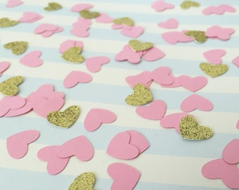 Mini heart shaped confetti, heart shaped confetti, Pink and Gold confetti, baby shower, bridal shower, birthday party, wedding