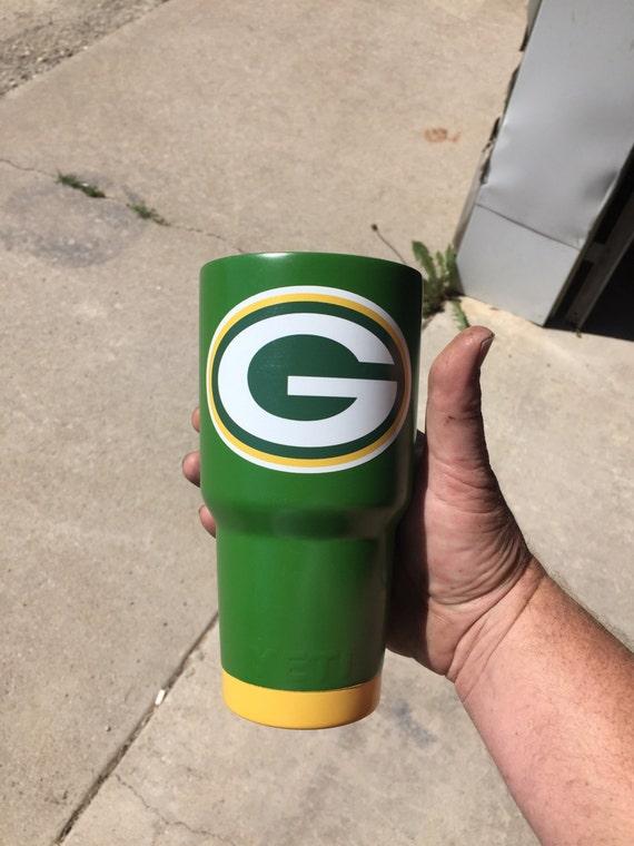 Green Bay Packers Yeti rambler 30oz tumbler custom painted!