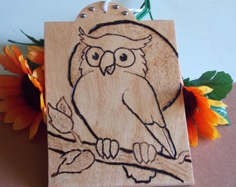 Owl Woodburned Plaque