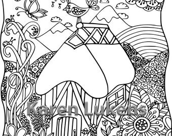 Happy Alps Cottage, 1 Adult Coloring Book Page, Printable Instant Download