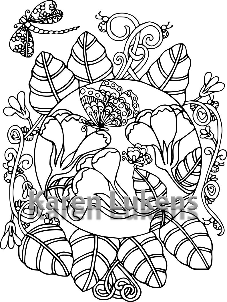 butterfly garden 5 1 coloring book page printable instant